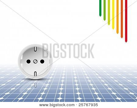 Solar panel with socket, outlet - green power concept - photovoltaic technology - energy efficiency rating - abstract eco design background
