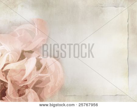 Flower background in light vintage style on torn old paper sheet - grunge floral background - invitation and greeting card design - suitable for love, wedding, birthday and valentine themes