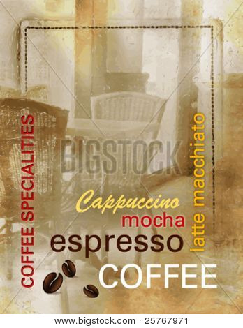 Grunge coffee background - coffee menu with text and abstract old coffee shop - vintage design, retro style - vector illustration