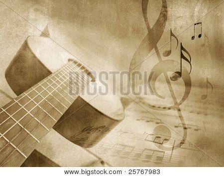 Fondo de música Grunge con guitarra, partituras y notas - plantilla de evento musical en estilo vintage
