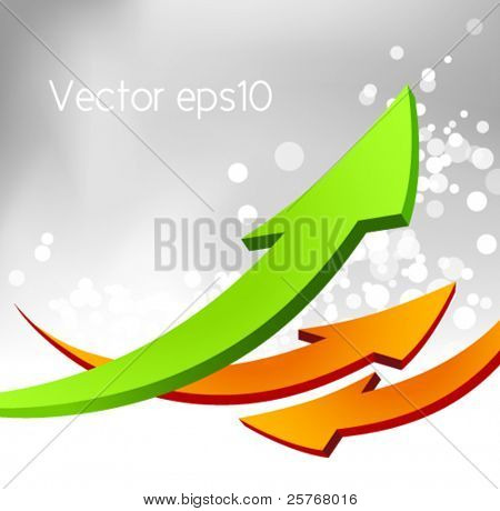 Arrow business design with abstract gray bokeh background - fresh corporate template