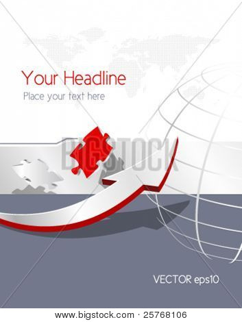 Abstract business background with dotted world map, arrow, globe and puzzle pieces - global corporate brochure design - vector illustration