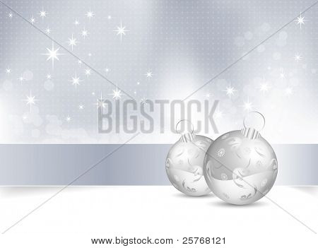 Blue and white Christmas background with Christmas balls - raster illustration