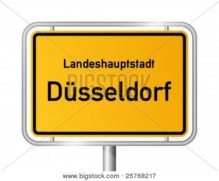 City limit sign DUSSELDORF / DÜSSELDORF against white background - federal state of North Rhine Westphalia / Nordrhein Westfalen - vector illustration