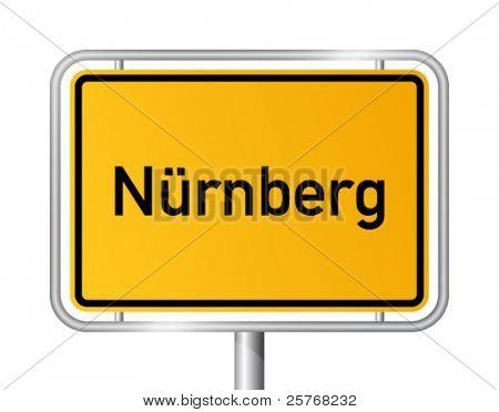 City limit sign NUREMBERG / NÃ?RNBERG against white background - federal state of Bavaria - vector illustration