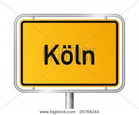 City limit sign COLOGNE / KÃ?LN against white background - federal state of North Rhine Westphalia / Nordrhein Westfalen - vector illustration