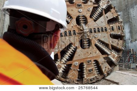 construction site with hudge tunnel digging machine