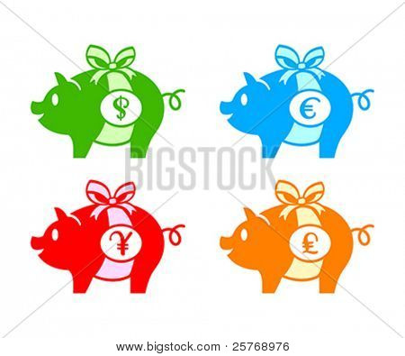 Colorful piggy banks for dollar, euro, yen(or yuan) and pound coins