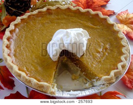 Close Up Of Sliced Pumpkin Pie