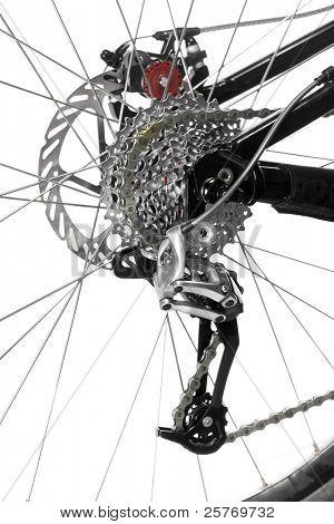 Mountain bike rear wheel detail on white background