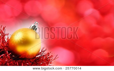 Christmas background - traditional glass decorations. Close up with shallow DOF