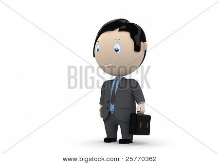 Manager. Social 3D characters: businessman carry briefcase. New constantly growing collection of expressive unique multiuse people images.