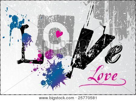 Love grunge graphic