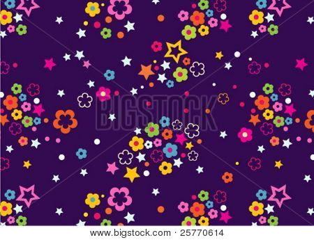 Ditsy Floral with stars seamless background