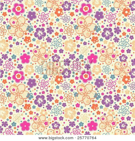 Ditsy Summer Floral seamless wallpaper