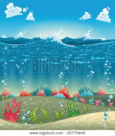 Under the sea. Funny cartoon and vector illustration.