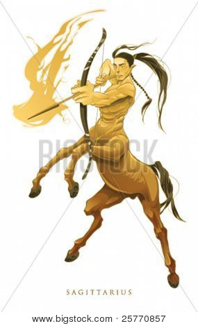 Sagittarius, ninth  zodiacal sign. Vector illustration