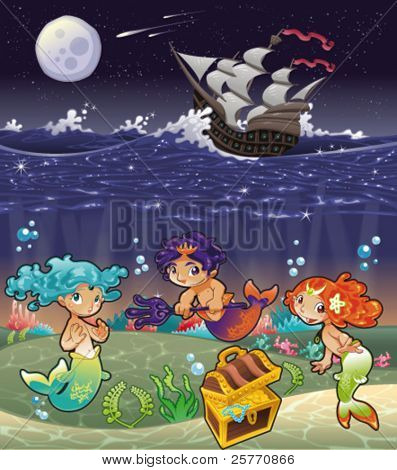 Baby Sirens and Baby Triton under the sea. Funny cartoon and vector illustration.