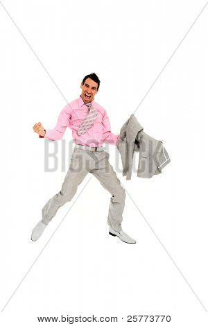 Celebrating success - Portrait of a male business executive jumping in air isolated white background