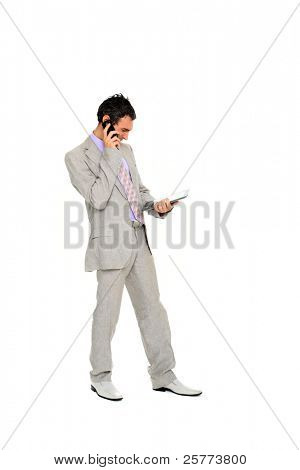 young business man standing using a tablet  isolated on white background