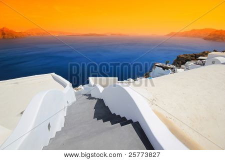 Streets of  Santorini island Greece