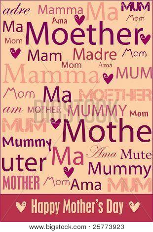 Cartel de Vector el alegre día de la madre con palabras de la madre en una variedad de idiomas.
