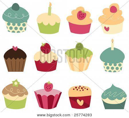 Conjunto de 12 cupcakes lindos.