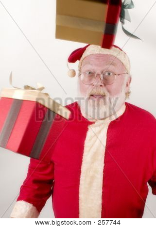 Santa With Packages In The Air
