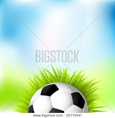 Football ball on the grass against green & blue background, vector.