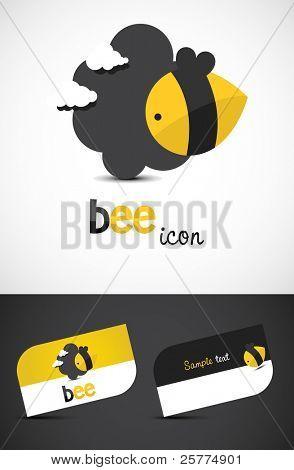 Ícone de abelha estilizado e cartões de visita, EPS10 vector.