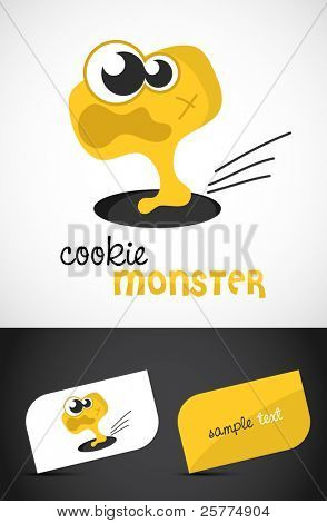 Cute, scared monster icon & stylized business cards, EPS10 vector,