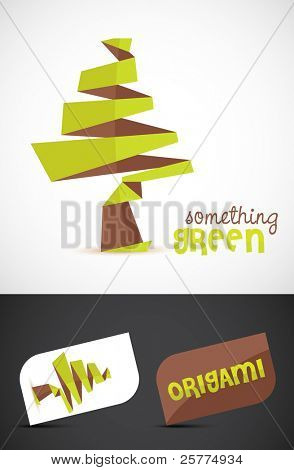 Stylized origami tree, vector EPS10.