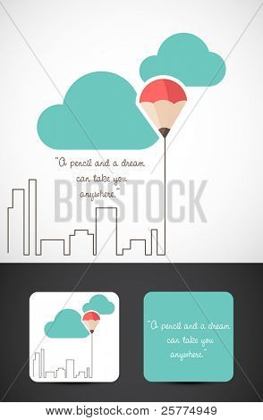 Conceptual illustration of the famous saying 'a pencil and a dream can take you anywhere', Vector EPS10.