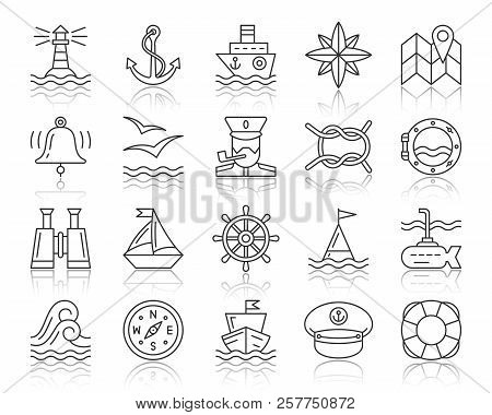 d91f3adae Marine Thin Line Icons Set. Outline Web Sign Kit Of Nautical. Sea Knot  Linear Icon Collection Boat, poster