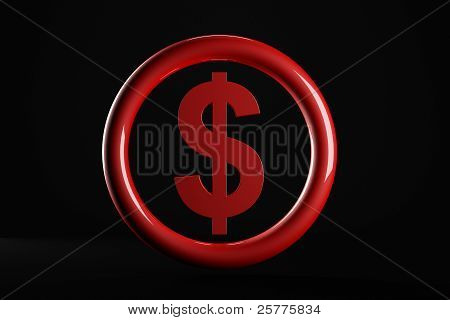3D  Dollar Currency Symbol