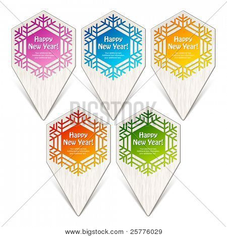 Festive labels form Christmas ornaments. Vector elements for design