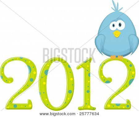Blue bird on the digits 2012, vector illustration