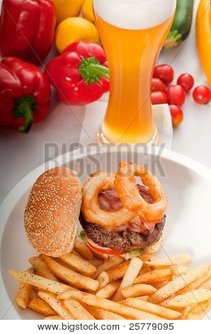 Classic Hamburger Sandwich And Fries