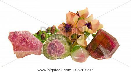 Natural Tourmaline Gem Stones And Mullein (verbascum) Blossoms