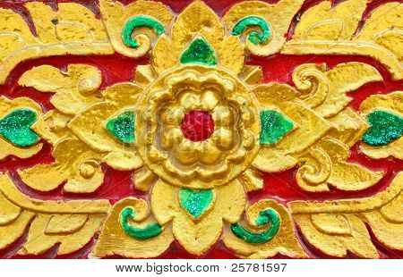 Thai Temple Wall With A Flower Pattern