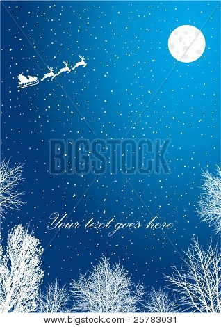 Blue  Christmas Background. Vector Illustration