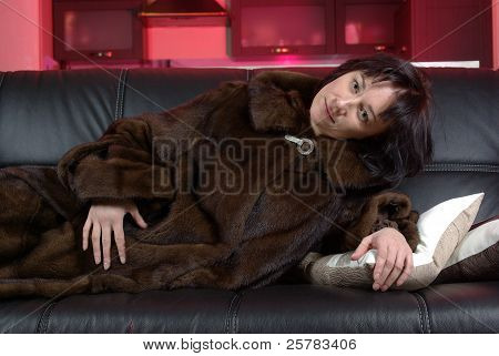 Female in a fur coat