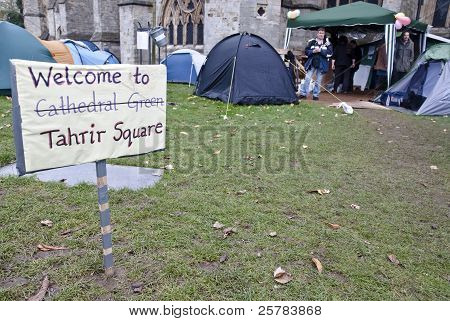 "Sign saying ""Welcome to Tahrir Square"" at the Occupy Exeter Camp"