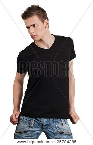Male Posing With Blank Black Shirt