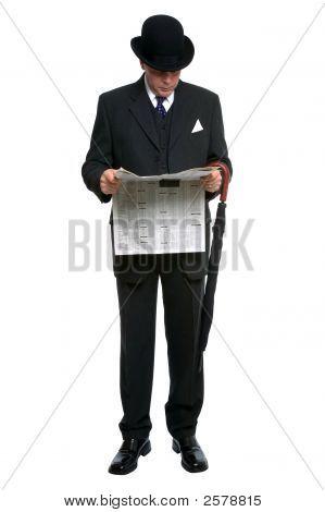 City Gent Reading Newspaper