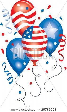 Vector Patriotic Balloon grouping