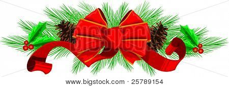 Vector Illustration of a decorative bow with pine