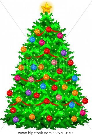 Vector illustration of a Christmas tree with ornaments and ribbon