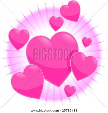 Vector Spot Illustration of Pink Hearts