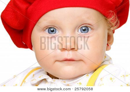 Infant With Big Blue Eyes
